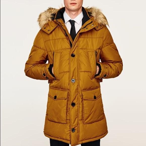 9b8fa508 Zara Jackets & Coats | Nwt Man Orange Fur Hood Quilted Parka Coat ...